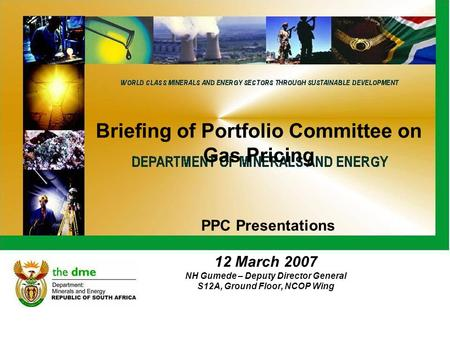 Briefing of Portfolio Committee on Gas Pricing PPC Presentations 12 March 2007 NH Gumede – Deputy Director General S12A, Ground Floor, NCOP Wing.