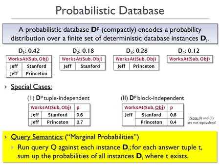 "1  Special Cases:  Query Semantics: (""Marginal Probabilities"")  Run query Q against each instance D i ; for each answer tuple t, sum up the probabilities."