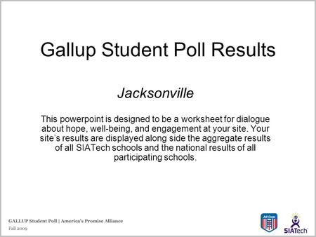 Gallup Student Poll Results Jacksonville This powerpoint is designed to be a worksheet for dialogue about hope, well-being, and engagement at your site.