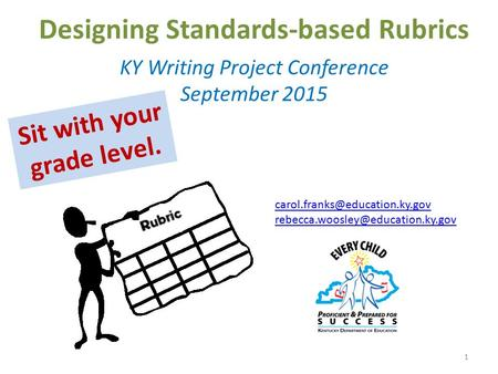 Designing Standards-based Rubrics KY Writing Project Conference September 2015 1  Sit with.