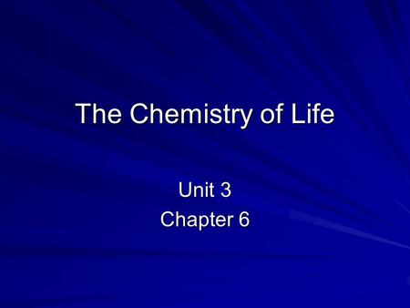 The Chemistry of Life Unit 3 Chapter 6. Atom Proton: positively charged particles Neutron: no charge particles Electron: negatively charged particles.