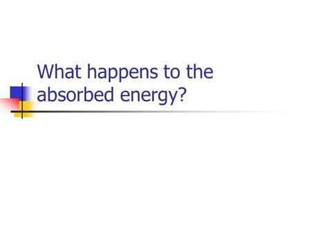 What happens to the absorbed energy?. Energy soso s1s1 t1t1.