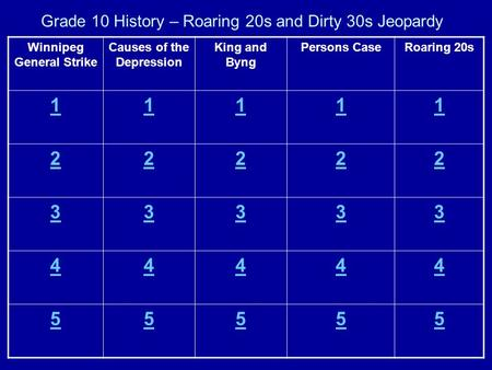 Grade 10 History – Roaring 20s and Dirty 30s Jeopardy Winnipeg General Strike Causes of the Depression King and Byng Persons CaseRoaring 20s 11111 22222.