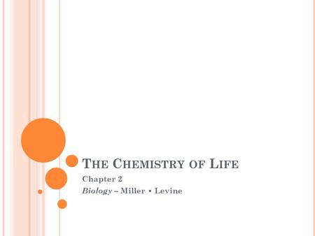 T HE C HEMISTRY OF L IFE Chapter 2 Biology – Miller Levine.