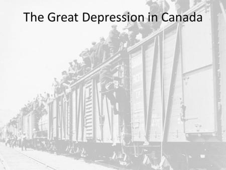 The Great Depression in Canada. Background: Laurier, who had kept the country united, dies in 1919, and the liberal party splits. New political parties.