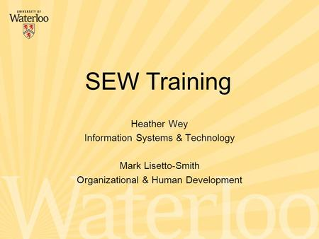 Heather Wey Information Systems & Technology Mark Lisetto-Smith Organizational & Human Development SEW Training.