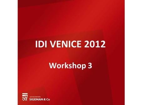 Workshop 3 IDI VENICE 2012. The notion of commercial agency and its borderlines Magnus Nedström Sigeman & Co, Sweden.