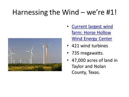 Harnessing the Wind – we're #1!