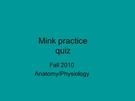 Mink practice quiz Fall 2010 Anatomy/Physiology. Point Structure 12 individual questions (1 point each) 6 group questions (3 points each) Total: 30 points.