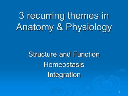 3 recurring themes in Anatomy & Physiology Structure and Function HomeostasisIntegration 1.