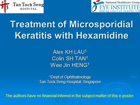 Treatment of Microsporidial Keratitis with Hexamidine