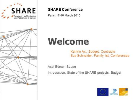 SHARE Conference Paris, 17-18 March 2010 Welcome Axel Börsch-Supan Introduction, State of the SHARE projects, Budget Kathrin Axt: Budget, Contracts Eva.