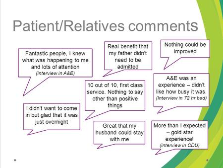 Patient/Relatives comment s Fantastic people, I knew what was happening to me and lots of attention (interview in A&E) 10 out of 10, first class service.