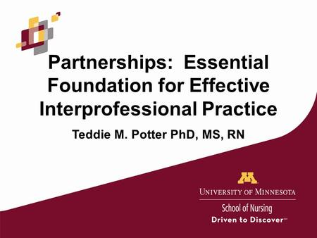 Partnerships: Essential Foundation for Effective Interprofessional Practice Teddie M. Potter PhD, MS, RN.
