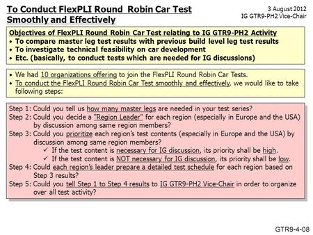 To Conduct FlexPLI Round Robin Car Test Smoothly and Effectively We had 10 organizations offering to join the FlexPLI Round Robin Car Tests. To conduct.