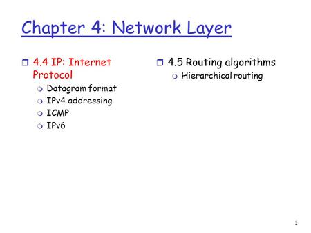 1 Chapter 4: Network Layer r 4.4 IP: Internet Protocol m Datagram format m IPv4 addressing m ICMP m IPv6 r 4.5 Routing algorithms m Hierarchical routing.