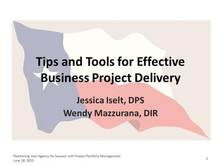 Tips and Tools for Effective Business Project Delivery Jessica Iselt, DPS Wendy Mazzurana, DIR 1 Positioning Your Agency for Success with Project Portfolio.