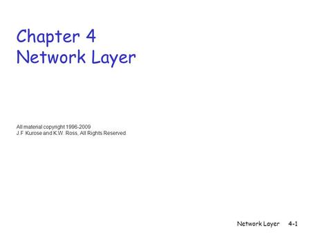Network Layer4-1 Chapter 4 Network Layer All material copyright 1996-2009 J.F Kurose and K.W. Ross, All Rights Reserved.