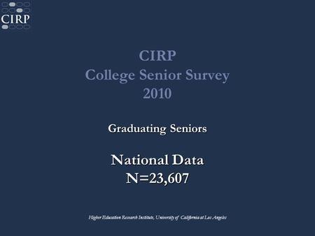 CIRP College Senior Survey 2010 Graduating Seniors National Data N=23,607 Higher Education Research Institute, University of California at Los Angeles.