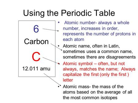 Using the Periodic Table 6 Carbon C 12.011 amu Atomic number- always a whole number, increases in order, represents the number of protons in each atom.