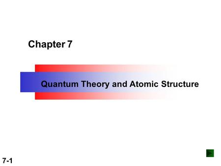 Copyright ©The McGraw-Hill Companies, Inc. Permission required for reproduction or display. 7-1 Chapter 7 Quantum Theory and Atomic Structure.