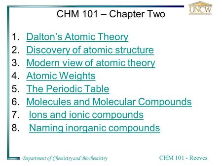 Department of Chemistry and Biochemistry CHM 101 - Reeves CHM 101 – Chapter Two 1.Dalton's Atomic TheoryDalton's Atomic Theory 2.Discovery of atomic structureDiscovery.
