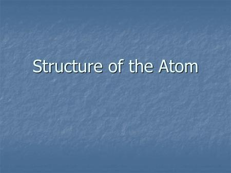 Structure of the Atom. Chemical symbol- an abbreviated way to write the name of an element. Chemical symbol- an abbreviated way to write the name of an.