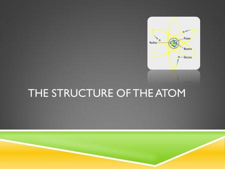 THE STRUCTURE OF THE ATOM. Atomic Number Atomic Mass Element Symbol Element Name.