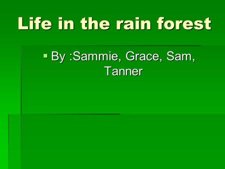 Life in the rain forest  By :Sammie, Grace, Sam, Tanner.