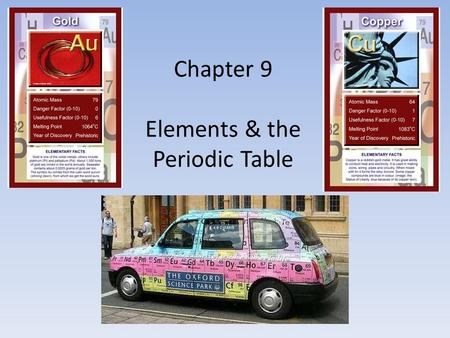 Chapter 9 Elements & the Periodic Table