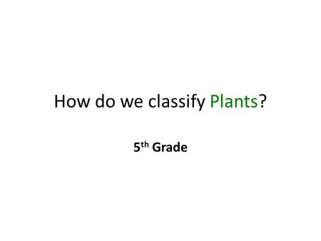 How do we classify Plants? 5 th Grade. Scientists study what is INSIDE plants to divide them into 2 groups. What are these 2 groups called? 1) Vascular.