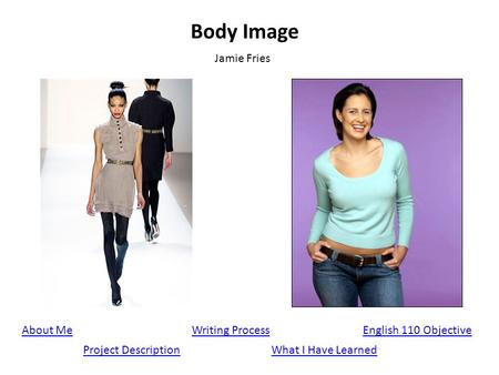 Body Image Jamie Fries About Me Project Description English 110 ObjectiveWriting Process What I Have Learned.
