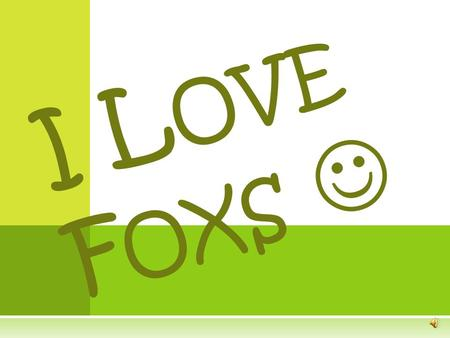 I L OVE F OXS Foxs I T ' S SO CUTE ! H OW ADORABLE ! THESE WORDS ARE JUST SOME OF THE WORDS THAT PEOPLE USUALLY SAY WHEN THEY SEE FOXS !
