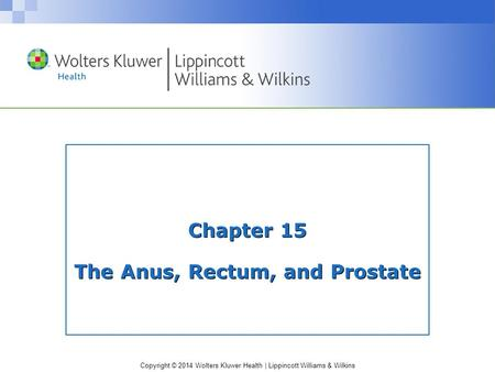 Copyright © 2014 Wolters Kluwer Health | Lippincott Williams & Wilkins Chapter 15 The Anus, Rectum, and Prostate.