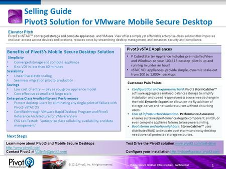 1 © 2012, Pivot3, Inc. All rights reserved. Mobile Secure Desktop Infrastructure - Confidential Selling Guide Pivot3 Solution for VMware Mobile Secure.