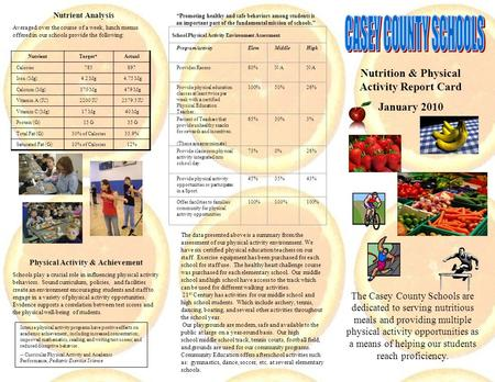 Nutrition & Physical Activity Report Card January 2010 The Casey County Schools are dedicated to serving nutritious meals and providing multiple physical.