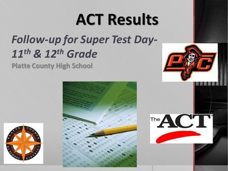 Follow-up for Super Test Day- 11 th & 12 th Grade Platte County High School ACT Results.