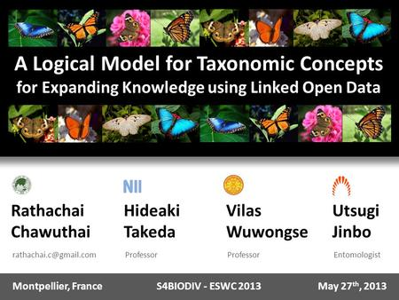 A Logical Model for Taxonomic Concepts for Expanding Knowledge using Linked Open Data Rathachai Chawuthai Hideaki Takeda Professor.