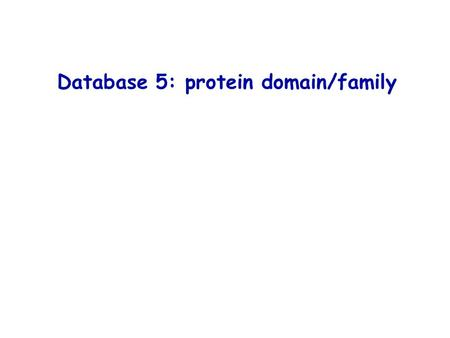 Database 5: protein domain/family. Protein domain/family: some definitions Most proteins have « modular » structures Estimation: ~ 3 domains / protein.