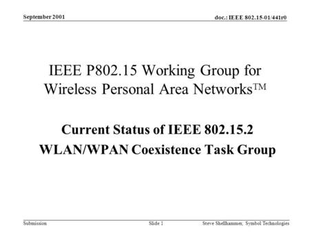 Doc.: IEEE 802.15-01/441r0 Submission September 2001 Steve Shellhammer, Symbol Technologies Slide 1 IEEE P802.15 Working Group for Wireless Personal Area.