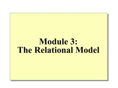 Module 3: The Relational Model.  Overview Terminology Relational Data Structure Mathematical Relations Database Relations Relational Keys Relational.