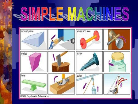 SIMPLE MACHINES. Slide 1  The Six Simple Machines are: 1. Lever 2. Wheel and Axle 3. Inclined Plane 4. Wedge 5. Pulley 6. Screw.