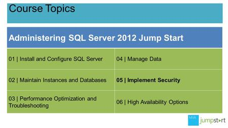 Course Topics Administering <strong>SQL</strong> Server 2012 Jump Start 01 | Install and Configure <strong>SQL</strong> Server04 | Manage Data 02 | Maintain Instances and Databases05 |