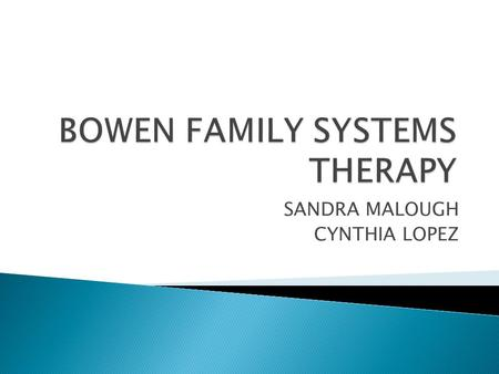 SANDRA MALOUGH CYNTHIA LOPEZ.  Murray Bowen ◦ Oldest of 5 children ◦ Medical doctor ◦ Hospitalized entire families with schizophrenic member ◦ 1975 founded.