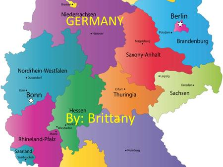 GERMANY By: Brittany. Major Cities Berlin: Capital of Germany, most ancient. 52.52 latitude north, 13.38 longitude east. 3.4 million inhabitants, it is.