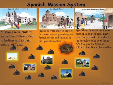 Spanish Mission System Plarium.com Missions were built to spread the Catholic faith to Indians and to gain control of Texas Presidios were built to protect.