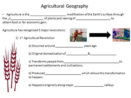 Agricultural Geography Agriculture is the ______________________ modification of the Earth's surface through the _c____________________ of plants and rearing.