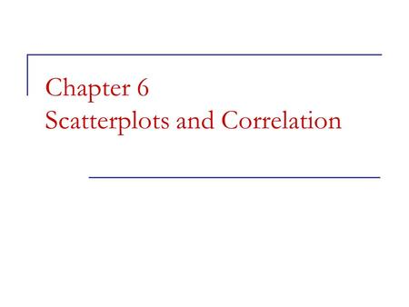 Chapter 6 Scatterplots and Correlation Chapter 7 Objectives Scatterplots  Scatterplots  Explanatory and response variables  Interpreting scatterplots.
