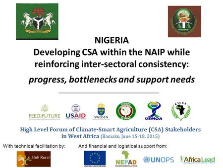 NIGERIA Developing CSA within the NAIP while reinforcing inter-sectoral consistency: progress, bottlenecks and support needs With technical facilitation.