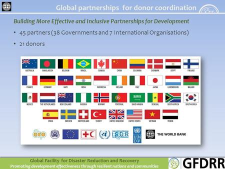 Building More Effective and Inclusive Partnerships for Development 45 partners (38 Governments and 7 International Organisations) 21 donors Global partnerships.
